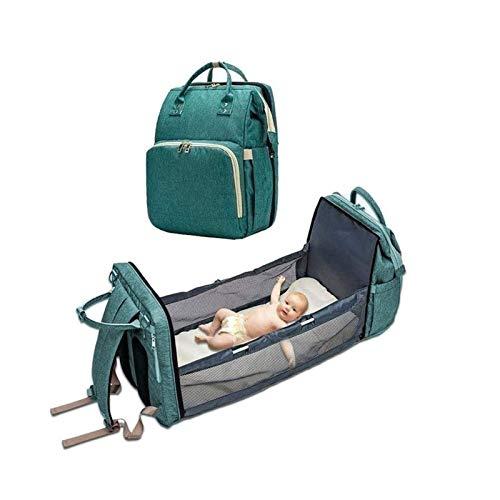 Mochila para pañales con cama, Mochila para pañales para bebé Casual Gris impermeable Bolsa de viaje para bebé Elegante Mochila para mamá de gran capacidad con cambiador y gancho para cochecito