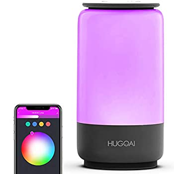 Smart Table Lamp HUGOAI Dimmable RGBW Bedside Lamps for Bedrooms Works with Alexa and Google Home LED Nightstand Lamp No Hub Required Grey【2021 Updated Version】