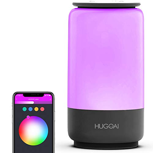 Smart Table Lamp, HugoAi Dimmable RGBW Bedside Lamps for Bedrooms, Works with Alexa and Google Home, LED Nightstand Lamp, No Hub Required, Grey【2021 Updated Version】