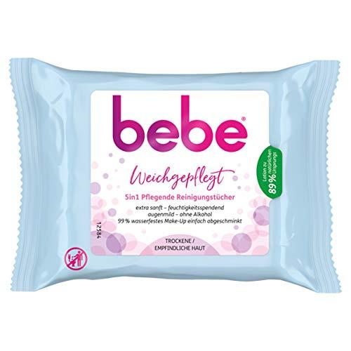 bebe 5in1 Pflegende Reinigungstücher, Abschminktücher für empfindliche & trockene Haut (6 x 25 Stück)