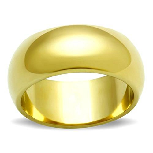 Ah! Jewellery Unisex 8mm Plain Wedding Ring Band. Stainless Steel IP Gold. Stamped 316.