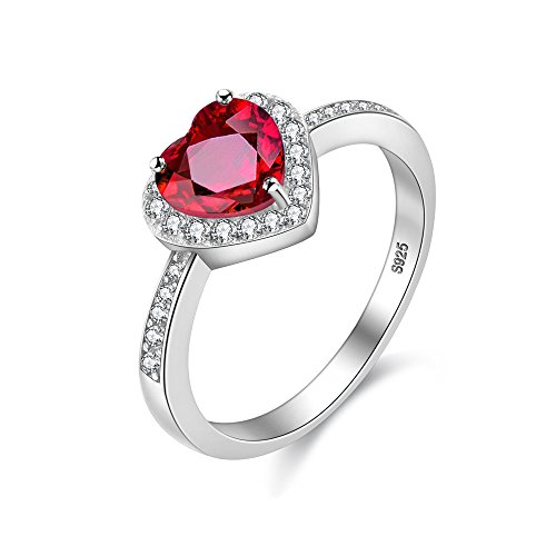 Uloveido Womens Solitaire Engagement Eternity Ring with Red Heart Love Knot Natural Garnet - Unique Sterling Silver Bridal Jewellery (Size Q) CJ007-8