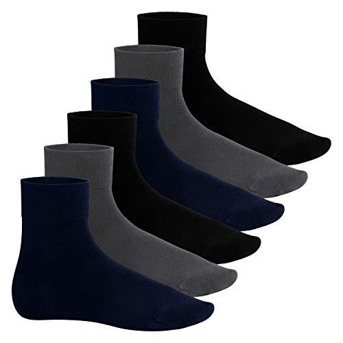 Footstar Herren Bambus Kurzschaft Socken (6 Paar), Quarter Socken aus nachhaltiger Viskose - Mix 43-46