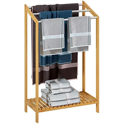 Casaria Handtuchhalter Bambus stehend 3 Edelstahl Stangen Ablage Handtuchständer Handtuchstange Bad Holz 51 x 31 x 85cm