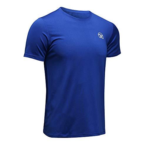 MEETWEE T-Shirt de Sport Homme, Baselayer Manches Courtes Maillot Running Tee Shirt Vetement de Fitness Football Jogging,Bleu,M