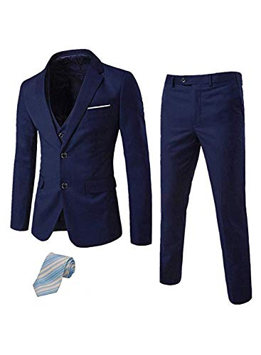 Men's Suit 3 Piece Busines Classic Solid Regular Fit Blazer Coat Vest Pants Set(Deep Brown,42)