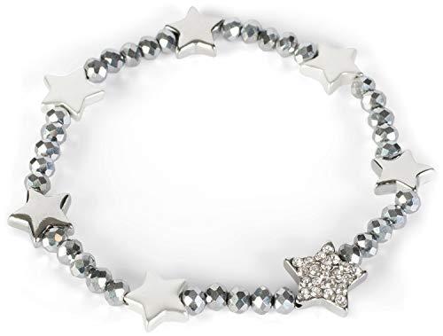 styleBREAKER Dames Plastic Kralen Armband met Sterrenbedels en Strass steentjes, Elastiek, Sieraden 05040176