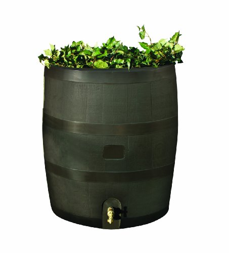 RTS Home Accents Round 35-Gallon Rain Barrel with Brass Spigot and Built-In Planter, Mud