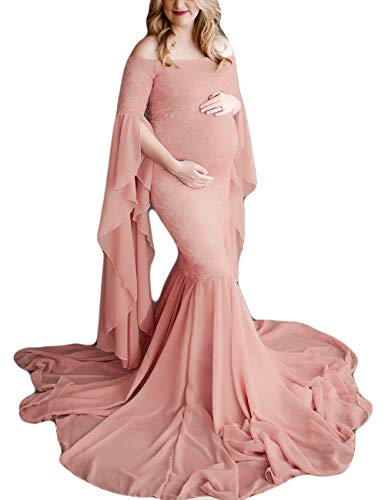 JustVH Women's Off The Shoulder Elegant Fitted Maternity Gown Flare Sleeve Slim Fit Maxi Photography Dress for Photoshoot Light Pink (Apparel)