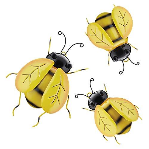Garden Gear Set of 3 Metal Bumble Bees, Outdoor Garden Decoration, Powder Coated Metal & Easy Hang Design