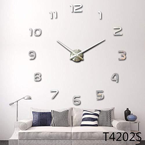 Sygjal DIY 3D Reloj de Pared del diseño del Metal del Reloj del Arte de la Sala de acrílico del Reloj del Espejo for el hogar Accesorios Reloj de Pared (Color : Sliver, Sheet Size : 37 Inch)