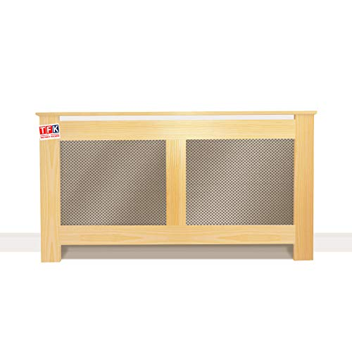 """Pine Wood Radiator Cover with Metal Sheet, 32"""" Tall x 48"""" Wide - Custom Size for Carpenters - TFK-RAD-MDW2"""