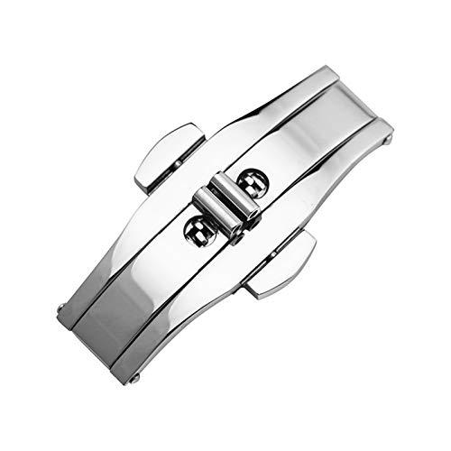 PZZZHF 304 Metal Reloj Banda Hebilla 5mm 6mm Reloj de Reloj de Reloj Plata Negro Negro Cierre de Acero Inoxidable Botón de Mariposa Accesorios (Band Color : Silver, Band Width : 6x21)