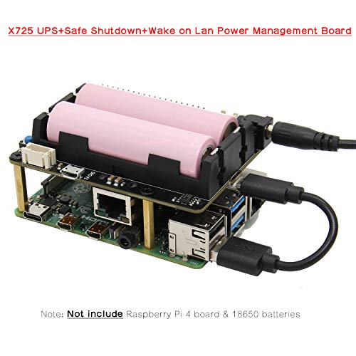 Raspberry Pi X725 UPS, Raspberry Pi 4 Model B X725 UPS HAT (18650 Power Max 5.1V 8A Output )+Safe Shutdown+Wake on Lan Power Management Expansion Board Compatible with Raspberry Pi 4B/3B+/2B/B+/3A+