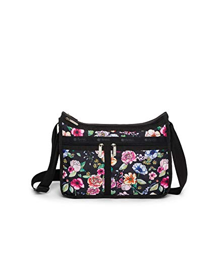LeSportsac Moonlit Garden Deluxe Everyday Crossbody Bag + Cosmetic Bag, Style 7507/Color F655, Elegant Multi-Color Vibrant Watercolor Floral, Black Trim