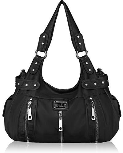 Scarleton Satchel Handbag for Women, Ultra Soft Washed Vegan Leather Crossbody Bag, Shoulder Bag, Tote Purse, Black, H129201