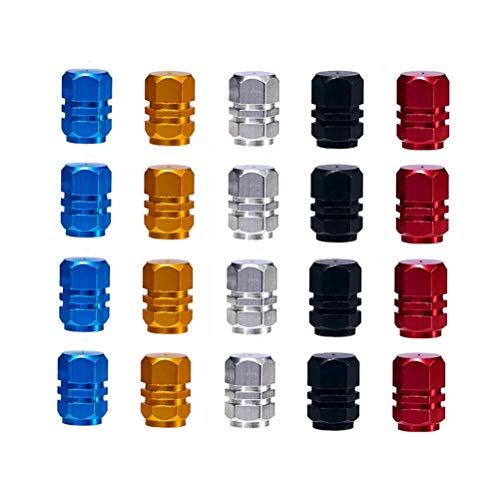 MUCHEN SHOP Tapones de Válvula,Plastico Tapas para Valvulas 20 Pack Tapas de Valvula Aleación de Aluminio Válvula de Neumático para Coche Motos Camiones Bicicleta Oro Plata Rojo Azul Negro