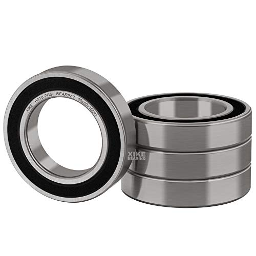 XiKe 4 Pcs 6010-2RS Double Rubber Seal Bearings 50x80x16mm, Pre-Lubricated and Stable Performance and Cost Effective, Deep Groove Ball Bearings.