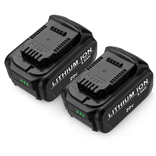 Powerextra 6.0Ah DCB205 DCB204 Replacement Battery Compatible with Dewalt 20V Max XR DCB205 DCB204 DCB206 DCB205-2 DCB200-2 DCB180 DCD985B DCB200 DCD/DCF/DCG Series 2 Pack