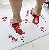 Halloween Bath Mat Bloody Footprint - Bath Mat Changes Color When Wet - Non-Slip Rug Halloween Scare Your Friends - Sheet, for Shower/Bathroom - Novelty Gag Gift A