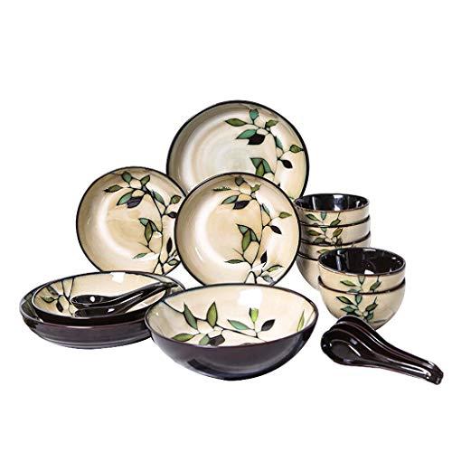 aedouqhr Juego de vajilla de cerámica con 18 Piezas, Cuenco/Plato/Cuchara   Juegos de vajilla, Juego de combinación de Porcelana con patrón de bambú esmaltado en Horno