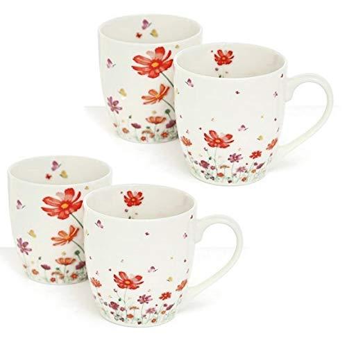 MAIKAI 4er Set Jumbobecher Wiese Weiß Bunt Jumbo Tassen Blumenwiese 400 ml Kaffeebecher Verspieltes Design Jumbobecher Kaffeetasse Modern Becher Groß Geschenk Für kleine und Große Mädels