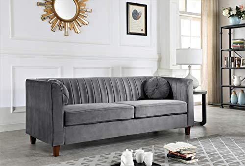 Container Furniture Direct Arvilla Upholstered Chesterfield Sofa, Grey