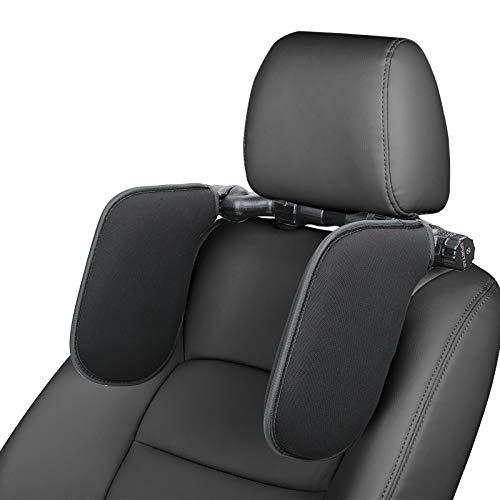 Spurtar Poggiatesta Auto Collo Cuscino Retraibile Supporto Collo per Auto Poggiatesta per Sedile Auto Ergonomico per Adulti e Bambini (Nero)