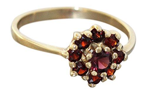 Hobra-Gold Granatblume - Ring Gold 585 mit echten Granaten - Goldring - Granatring