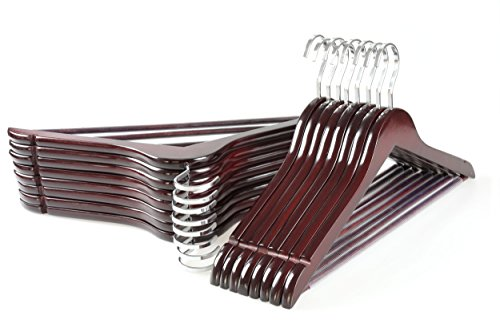 TOPIA HANGER Extra Strong Cherry Wooden Suit Hangers Solid Wood Coat Hangers Glossy Finish with Extra Thick Chrome Hooks Anti-Slip Bar 16-Pack CT01M