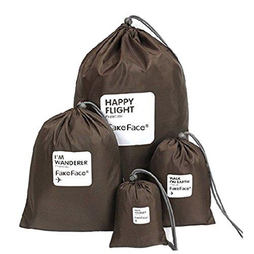 BXT - organizzatore per valigia, in nylon, impermeabile, con coulisse, per scarpe, vestiti e accessori, confezione da 4