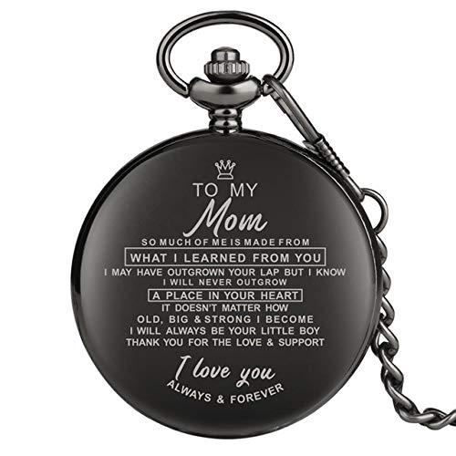UIEMMY Reloj de bolsillo superior único personalizado palabras de felicitación con texto 'I Love You', reloj de bolsillo con cadena de cuarzo, regalos para papá, mamá, hijo 2020, para mi mamá