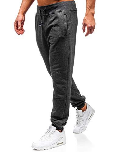 BOLF Herren Sporthose Trainingshose Jogger Basic Unifarbe 100% Baumwolle Sportlicher Stil 145364 Anthrazit L [6F6]
