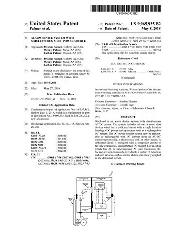Alarm device system with simultaneous AC/DC power source: United States Patent 9965935 (English Edition)