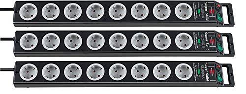 Brennenstuhl Super-Solid, Steckdosenleiste 8-fach mit Überspannungsschutz (2,5m Kabel und Schalter - aus bruchfestem Polycarbonat) Farbe: schwarz/grau 3er Pack