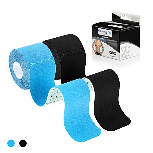 [5m x 5cm] Kinesiologie Tape in versch. Farben [2er Set] Kinesiotapes Wasserfest & Elastisch für Sport I Kinesiotape Physio Tape Kinesio Tapes (Blau + Schwarz)