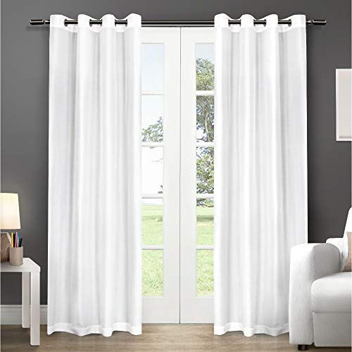 Exclusive Home Curtains Chatra Faux Silk Window Curtain Panel Pair with Grommet Top, 54x84, Winter White, 2 Count