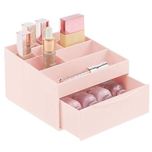 mDesign Make-up Organizer fürs Badezimmer oder den Schminktisch – Beauty Organizer aus Kunststoff – Kosmetikaufbewahrung mit 11 Fächern und einer Schublade – rosa