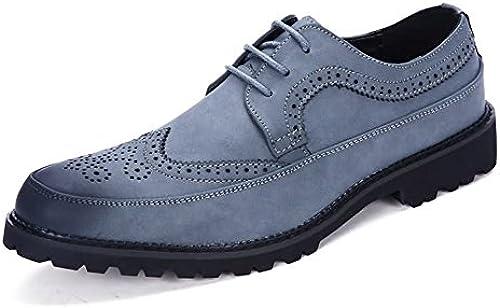 Z.L.F Herren Oxfords Schuhe Flache Ferse Schnüren PU Leder Freizeit Tooling Business Formelle Schuhe (Farbe   Blau, Größe   8.5MUS)