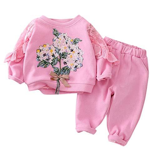Moneycom❤Toddler Baby Kids Girls Spring Floral Ruffles Sweatshirt Tops Pants Trousers Set Rose Vif(2-3 Ans)