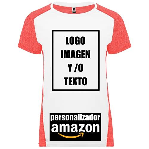 rainUP – Camiseta Deportiva Personalizable Mujer – Entrenamiento Running - Manga Corta – Puedes añadir tu Frase, Logo o Imagen Personalizada (Coral)