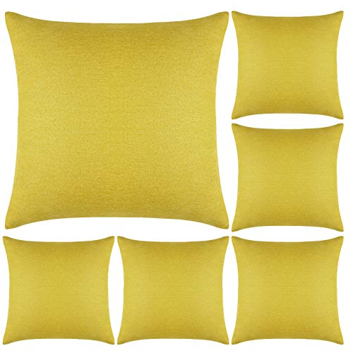 Aneco Pack of 6 Decorative Outdoor Waterproof Throw Pillow Covers Square Patio Cushion Cases Garden Pillowcases for Patio, Couch, Tent, Balcony and Sofa, 18 x 18 Inches, Yellow