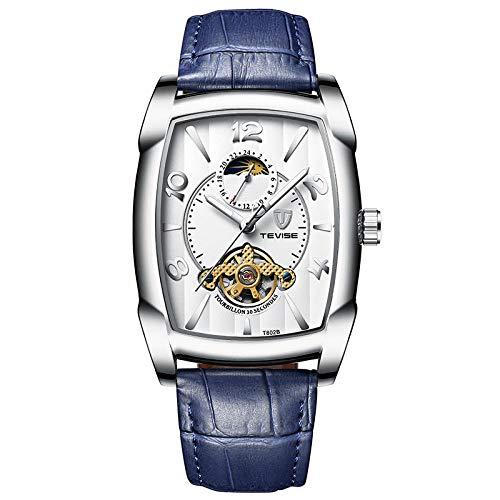 Armbandsklocka, mode företag maskiner se multifunktionellt läder mekanisk klocka armband Aurora vit