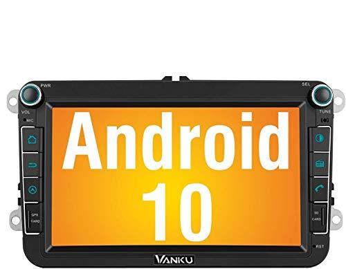 Vanku Android 10 Autoradio für Golf 5 6 Touran Polo Radio mit Navi 16GB Europakarten Eingebautes DAB + Modul Unterstützt Bluetooth 5.0 WiFi 4G Android Auto USB MicroSD 8 Zoll Bildschirm