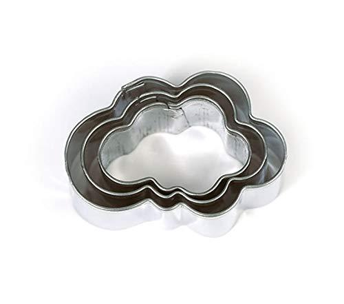 3 mini cortadores de galletas de acero inoxidable con nubes