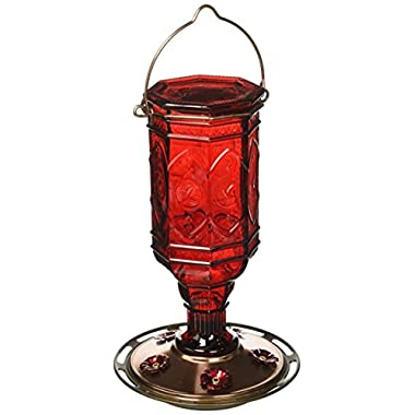 More Birds Hummingbird Feeder, Glass Hummingbird Feeders, 5 Feeding Stations, Red, 20-Ounce Nectar Capacity, Jewel Antique Glass Bottle