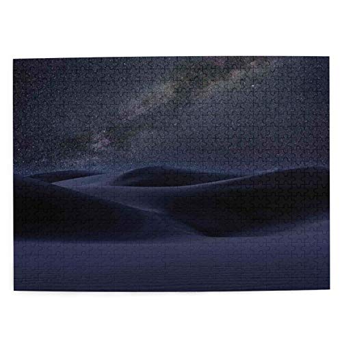 Adulto 500 Piezas Juego de Rompecabezas Dunas de Arena del Desierto en Estrellas de la Vía Láctea en el Oscuro Reflejo Celestial Solar sobre la Juguetes Educativos para Niños Decoración hogareña