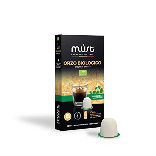 MUST 100 Capsule Caffè di ORZO Bio Biologico 100% Compostabili, miscela caffè orzo pack da 10 Capsule per 10 confezioni compatibili con macchina / macchinetta Nespresso Cialde Made in Italy
