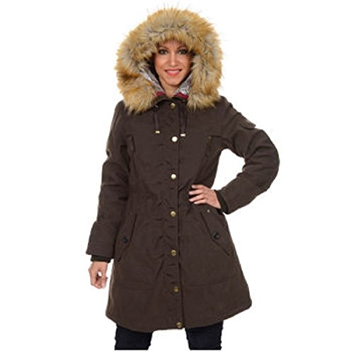 1 Madison Expedition Women's, Ladies' Anorak Jacket Faux Fur Hood Small Brown