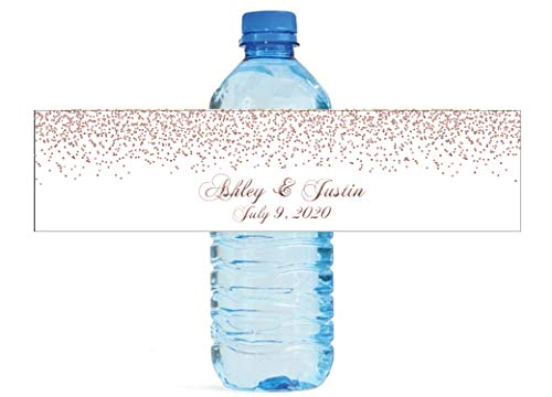 Rose Gold Confetti Falling on White Background Water Bottle Labels Great for Wedding Birthday Engagement Party
